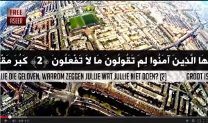 Schilderswijk vanuit de lucht in video van Free Aseer. Een verwijzing naar de extreem gewelddadige ISIS-film Sahil al Sawarim 4, die ook met luchtopnames begint.