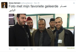 Aissa Zanzen (rechts) met Issam al-Bashir (midden), topman in de Moslimbroederschap.