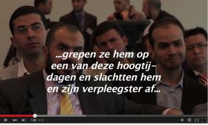 De vooraanstaande Moslimbroeder Salah Soltan (links, met gele das) en Aissa Zanzen in mei 2010 op het congres van de FION. De tekst is afkomstig uit een eerdere toespraak van Soltan en werd niet op dit congres uitgesproken.