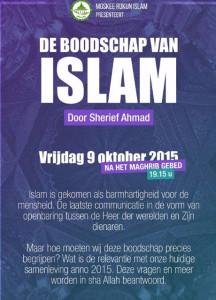 Flyer voor de lezing van Hizb ut-Tahrir-aanhanger Sherief Ahmad.