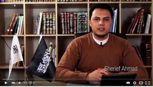 Sherief Ahmad in een video van De Boodschap van Islam, campagne van Hizb ut-Tahrir.
