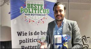 Politieke journalisten riepen NIDA-leider Nourdin el Ouali uit tot beste politicus van Rotterdam.